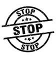 stop round grunge black stamp vector image vector image