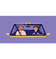 taxi driver and bearded man sitting in front seat vector image vector image