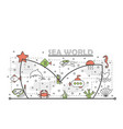 thin line art sea world poster banner vector image vector image