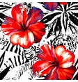 tropical hibiscus watercolor and graphic exotic vector image vector image