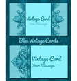 Two blue vintage horizontal business cards vector image vector image