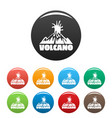 volcano explosion icons set color vector image vector image