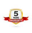 warranty 5 years isolated label on white vector image vector image