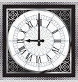 luxury white gold metal clock with roman numerals vector image