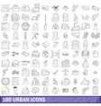100 urban icons set outline style vector image