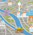 Abstract city map with silhouettes of houses vector image vector image