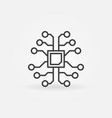 ai brain with chip outline icon or logo element
