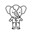 bashower cute elephant with clothes cartoon vector image
