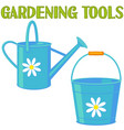 bright colorful cartoon garden watering set vector image