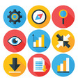 Business Flat Circle icons Set with Long Shadows vector image vector image