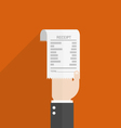 businessman hand hold receipt bill paper flat vector image