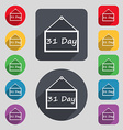 Calendar day 31 days icon sign A set of 12 colored vector image vector image