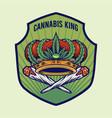 cannabis king crown badge logo vector image
