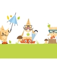 Cartoon Animals Hipster Style vector image vector image