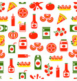 cartoon tomato products seamless pattern vector image