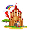castle with dragon and a knight vector image