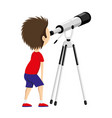 child with telescope vector image