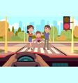 crosswalk family crosses road observing traffic vector image