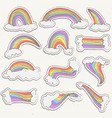 cute rainbow sticker set rainbow cartoon vector image
