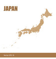 detailed map of japan cut out of craft paper vector image