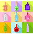 different bottles icons set flat style vector image vector image