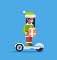 elf girl santa claus helper ride electric scooter vector image vector image