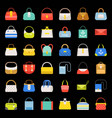 fashion bag flat design icon in various style set vector image vector image