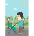 Father walking with his baby in stroller vector image vector image