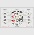 font scorpion sting craft retro vintage typeface vector image vector image