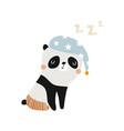funny sleeping panda childish print for fabric vector image