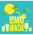 Glass of summer lemonade drink on blue background vector image vector image