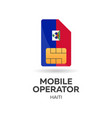 haiti mobile operator sim card with flag vector image vector image