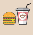 hamburger and red paper cup drink vector image