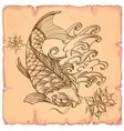 hand drawn outline koi fish with wave and flower vector image vector image
