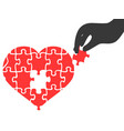 hand took heart jigsaw puzzle piece vector image