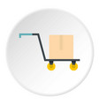 hand truck with cardboard box icon circle vector image vector image
