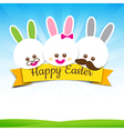 Happy easter rabbit bunny text with ribbon on vector image vector image