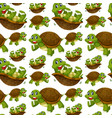 happy turtle seamless wallpaper vector image