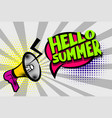 hello summer comic text pop art colored bubble vector image vector image