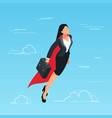 iisometric business woman flies in the sky vector image