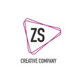 initial letter zs triangle design logo concept vector image vector image