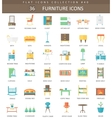 interior Furniture color flat icon set vector image vector image