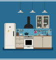 kitchen interior with furniture vector image vector image