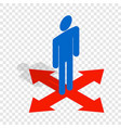 man at crossroads isometric icon vector image