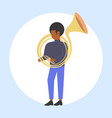 man tuba player african american musician playing vector image