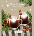 merry christmas card with hot chocolate vector image