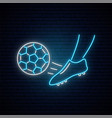 neon soccer sign foot a soccer player kicking vector image vector image