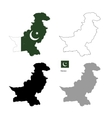 pakistan country black silhouette and with flag vector image vector image