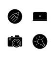 photographer work elements black glyph icons set vector image vector image
