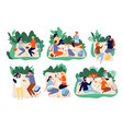 picnic people outdoor family happy group together vector image vector image